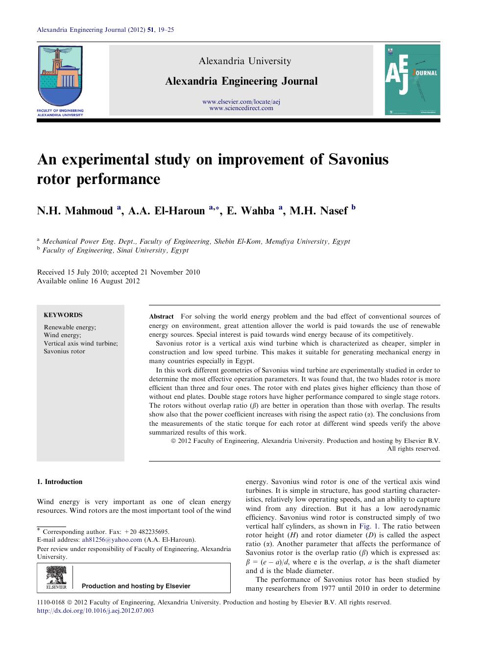 An experimental study on improvement of Savonius rotor