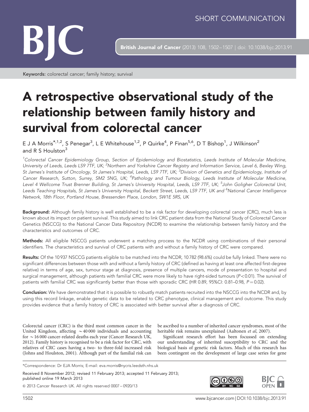 A Retrospective Observational Study Of The Relationship Between Family History And Survival From Colorectal Cancer Topic Of Research Paper In Health Sciences Download Scholarly Article Pdf And Read For Free On