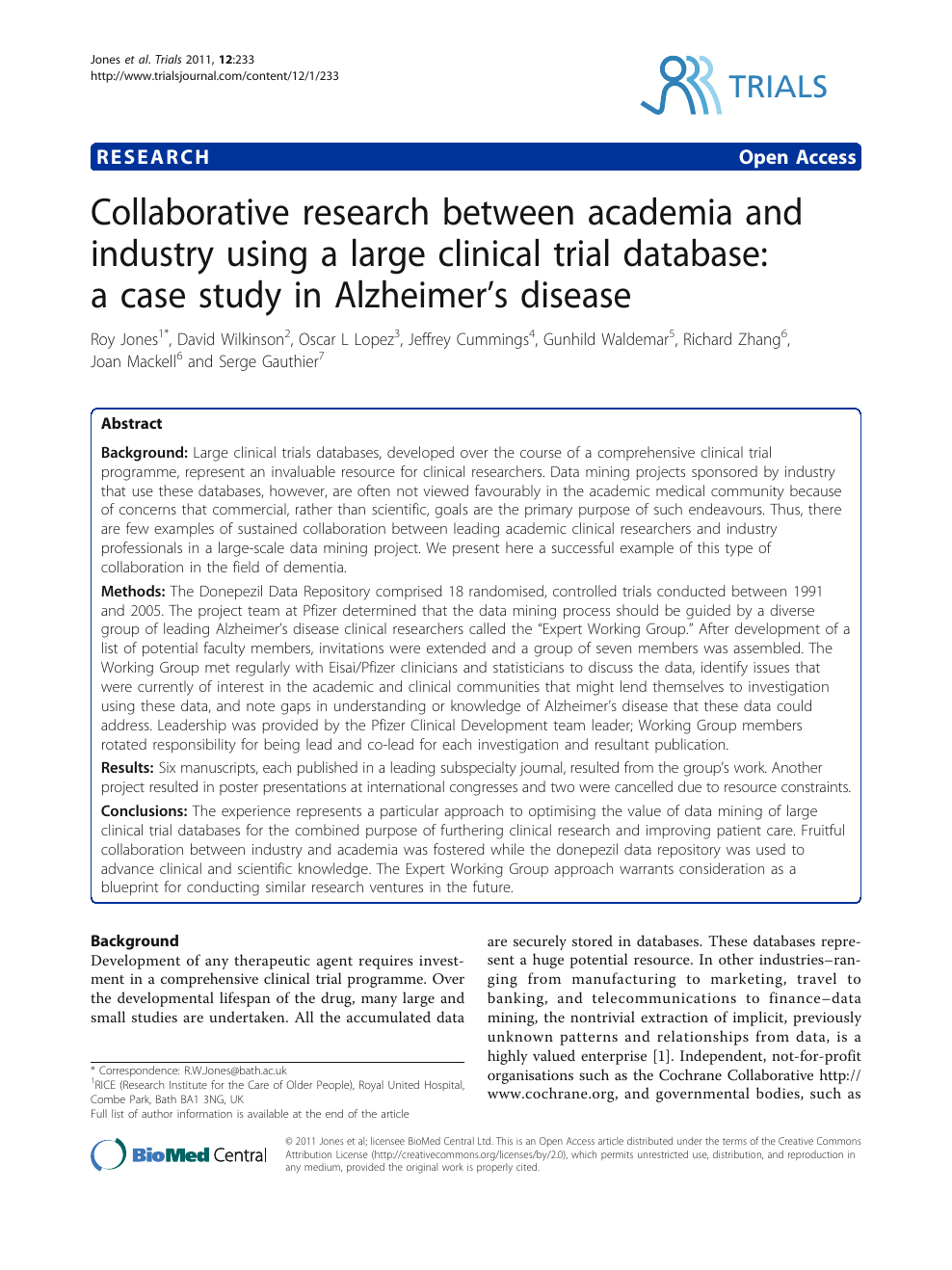Collaborative research between academia and industry using a