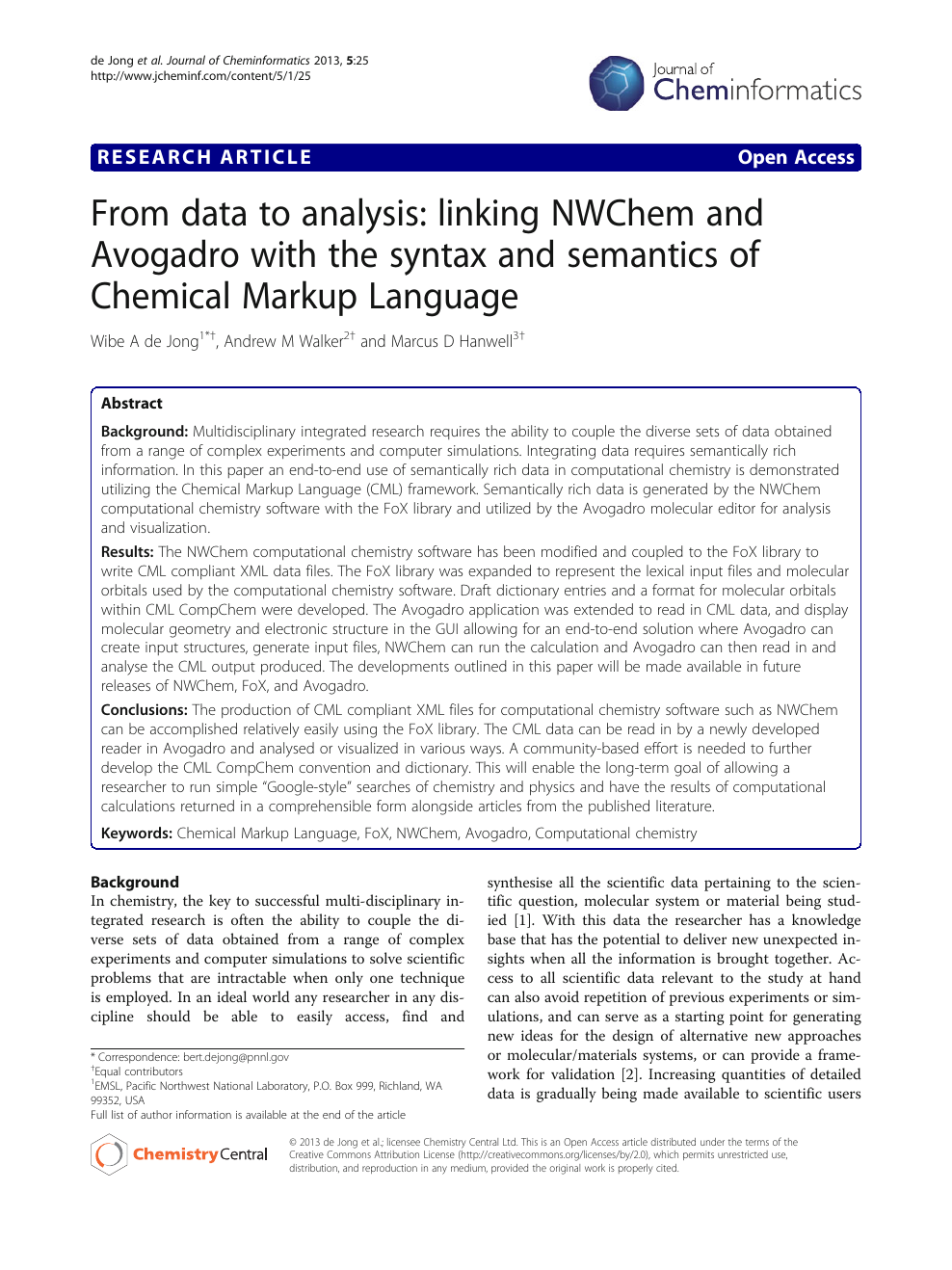 From data to analysis: linking NWChem and Avogadro with the