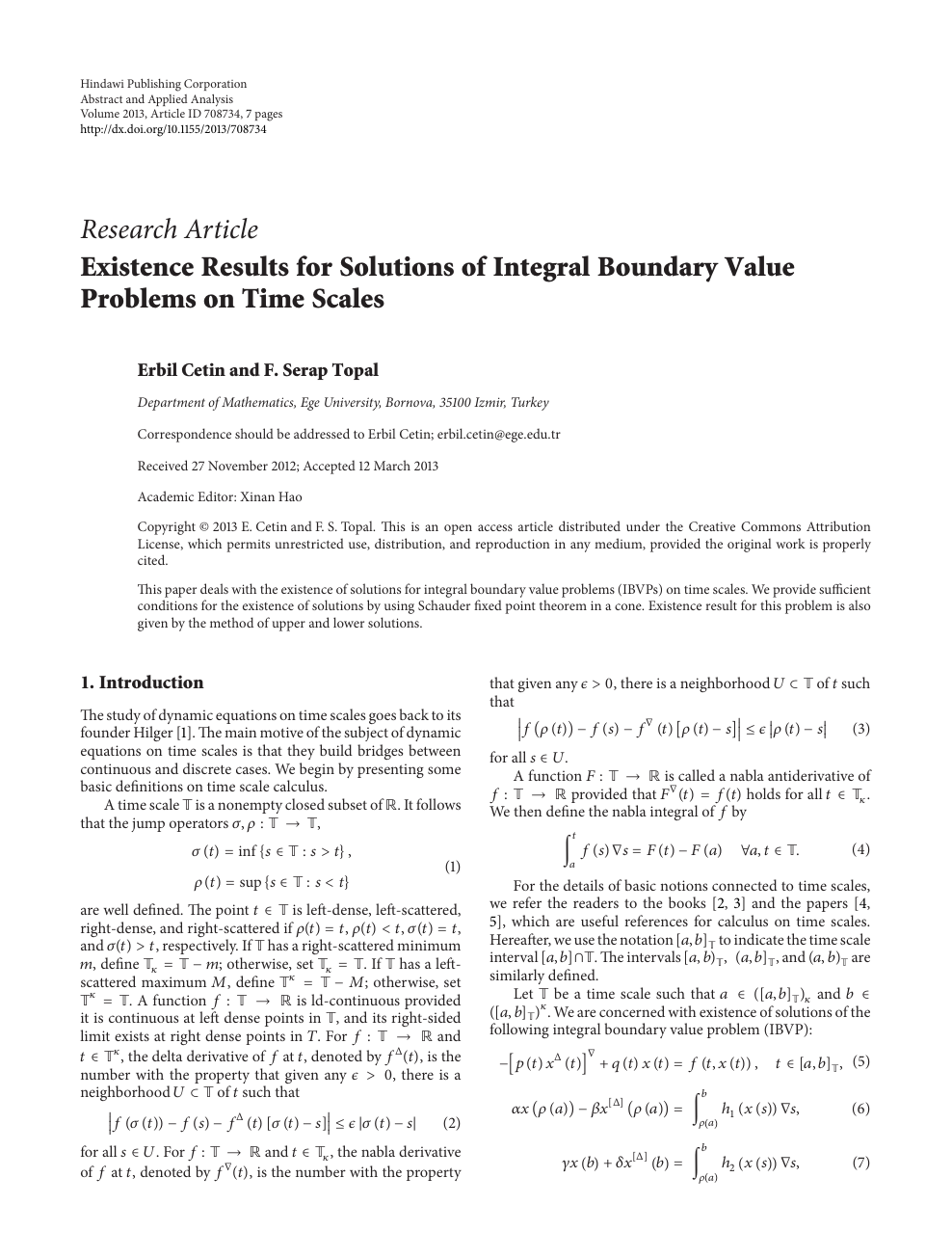 Existence Results for Solutions of Integral Boundary Value Problems