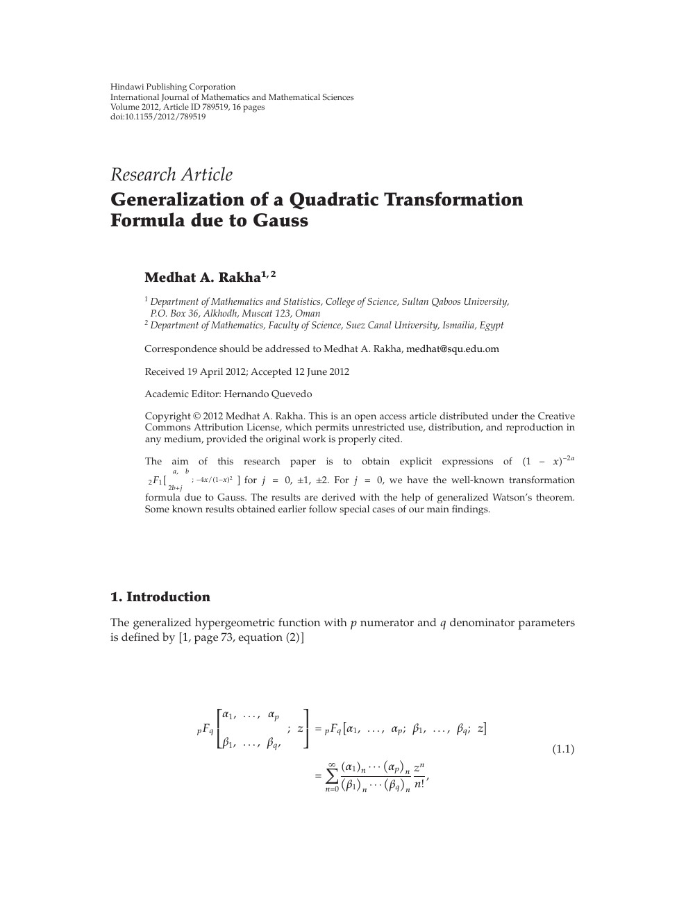 Generalization of a Quadratic Transformation Formula due to Gauss
