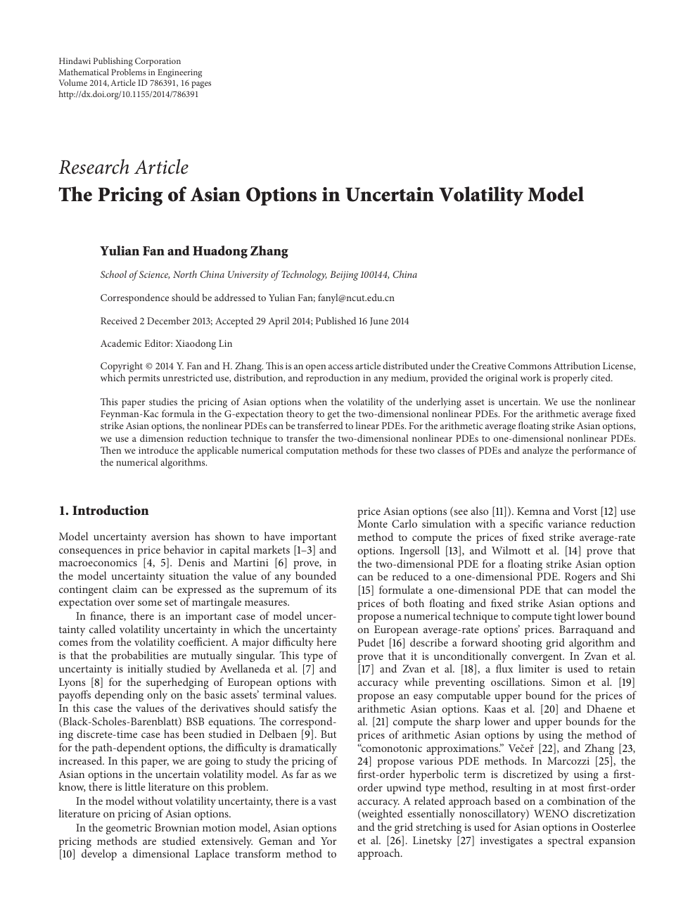 The Pricing of Asian Options in Uncertain Volatility Model – topic