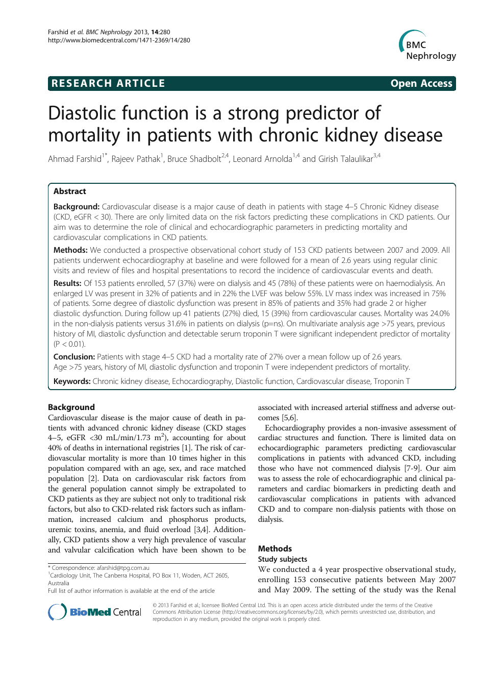 Diastolic function is a strong predictor of mortality in