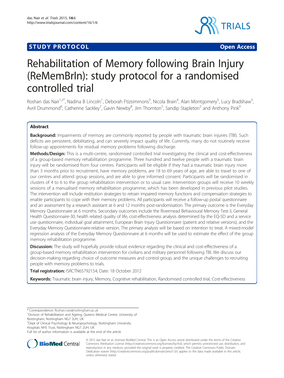 Rehabilitation of Memory following Brain Injury (ReMemBrIn