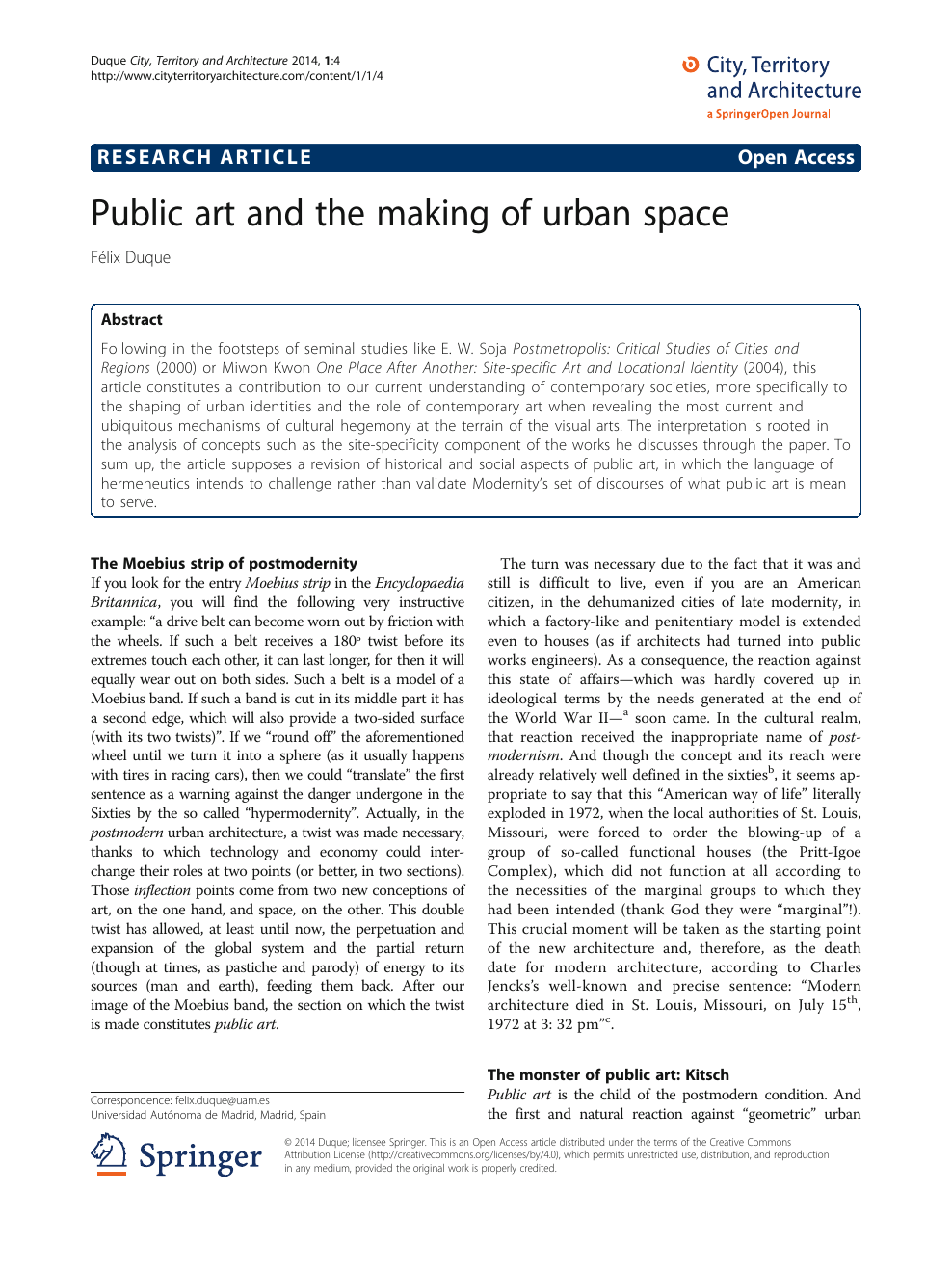 Public art and the making of urban space – topic of research