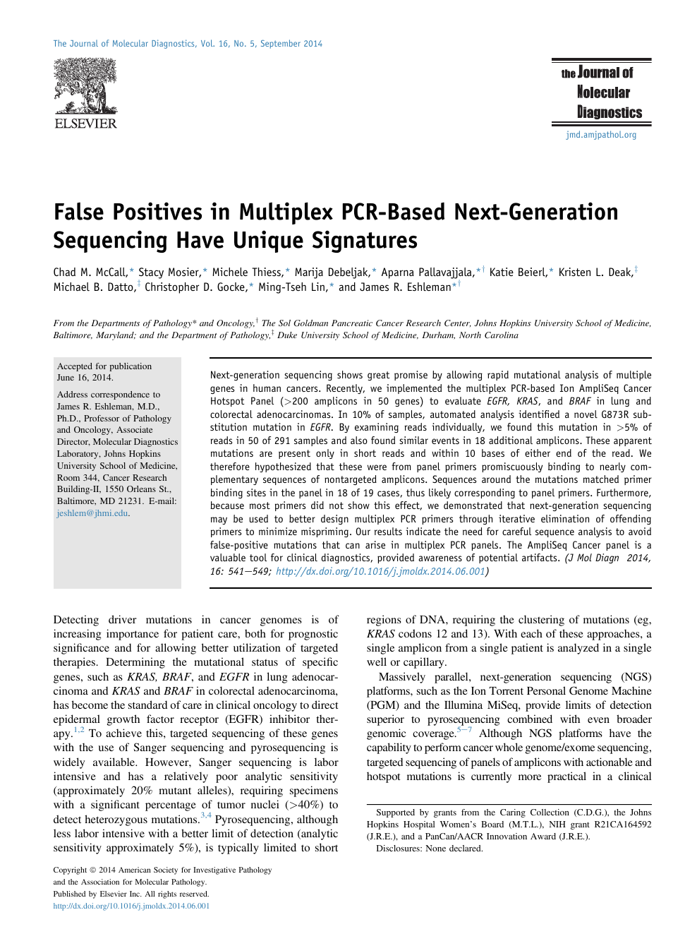 False Positives in Multiplex PCR-Based Next-Generation Sequencing