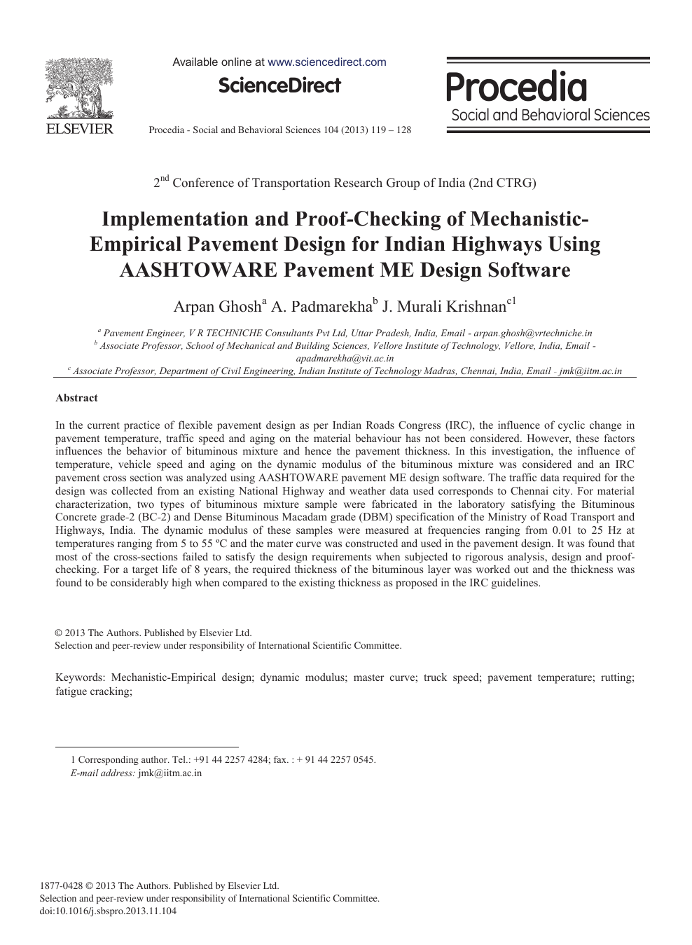 Implementation And Proof Checking Of Mechanistic Empirical Pavement Design For Indian Highways Using Aashtoware Pavement Me Design Software Topic Of Research Paper In Civil Engineering Download Scholarly Article Pdf And Read For Free