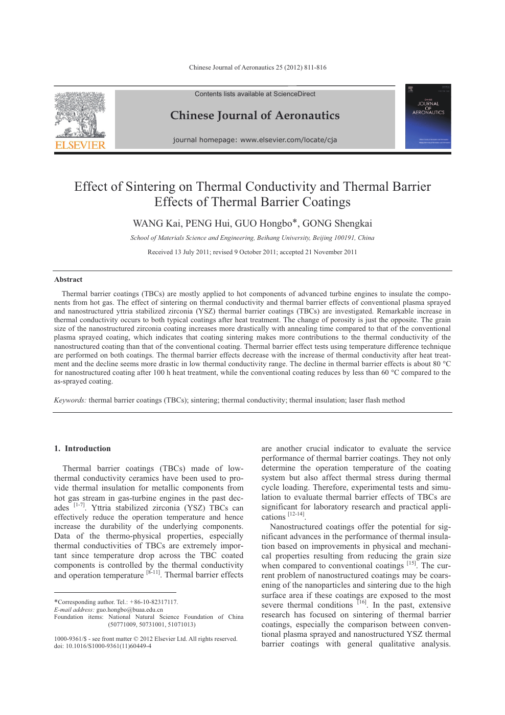 Effect of Sintering on Thermal Conductivity and Thermal