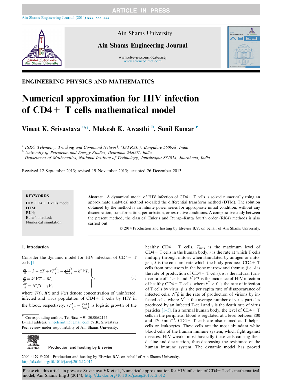 Asej numerical approximation for hiv infection of cd4+ t cells