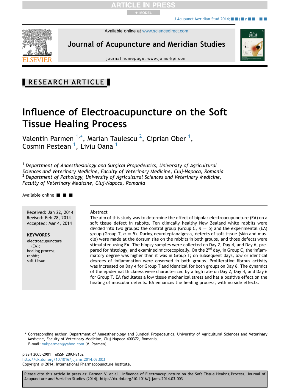 Influence Of Electroacupuncture On The Soft Tissue Healing Process Topic Of Research Paper In Veterinary Science Download Scholarly Article Pdf And Read For Free On Cyberleninka Open Science Hub