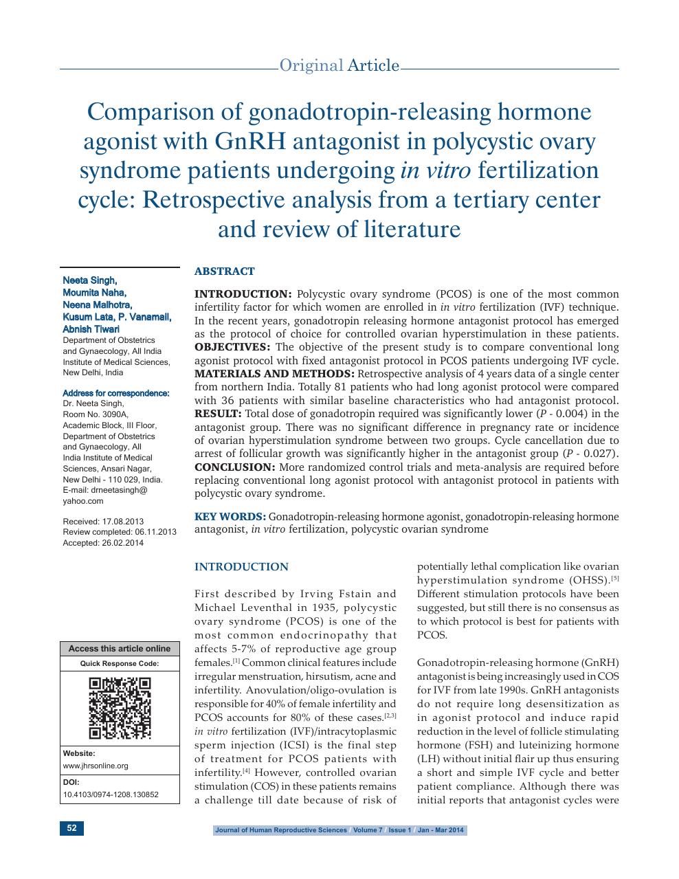 Comparison of gonadotropin-releasing hormone agonist with