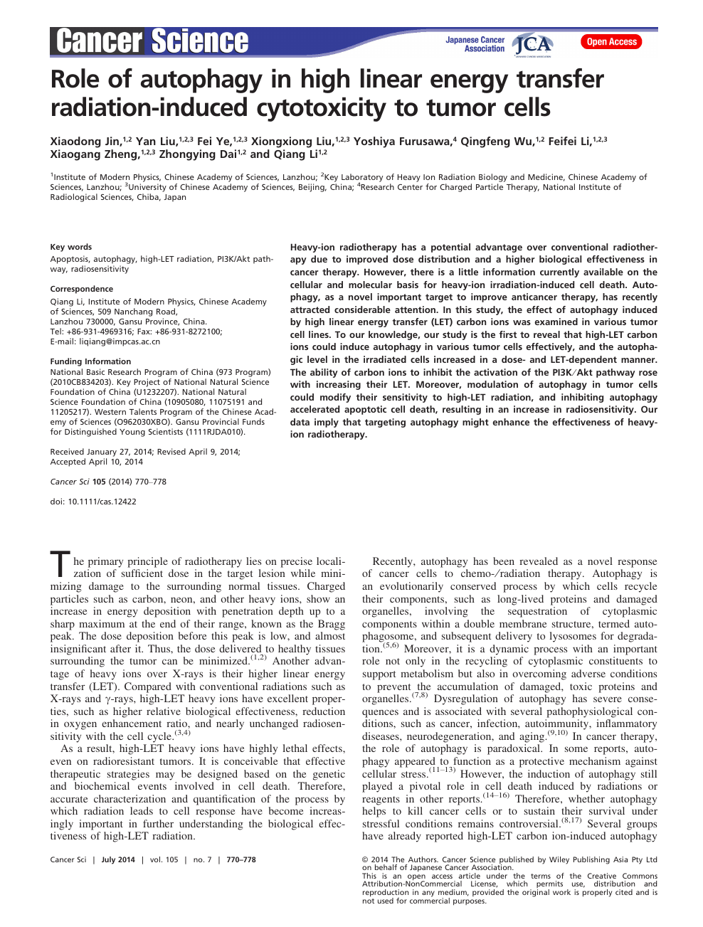 Role of autophagy in high linear energy transfer radiation