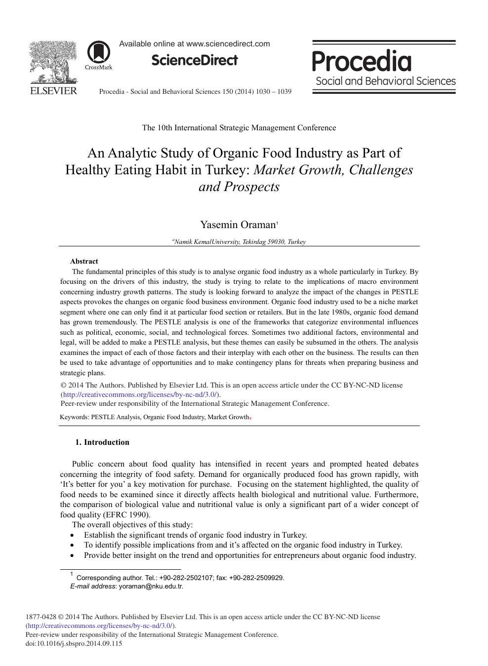 An Analytic Study Of Organic Food Industry As Part Of Healthy Eating Habit In Turkey Market Growth Challenges And Prospects Topic Of Research Paper In Agriculture Forestry And Fisheries Download Scholarly