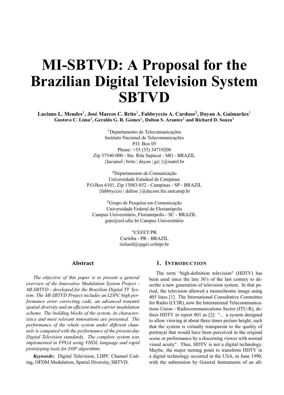 MI-SBTVD: A proposal for the brazilian digital television