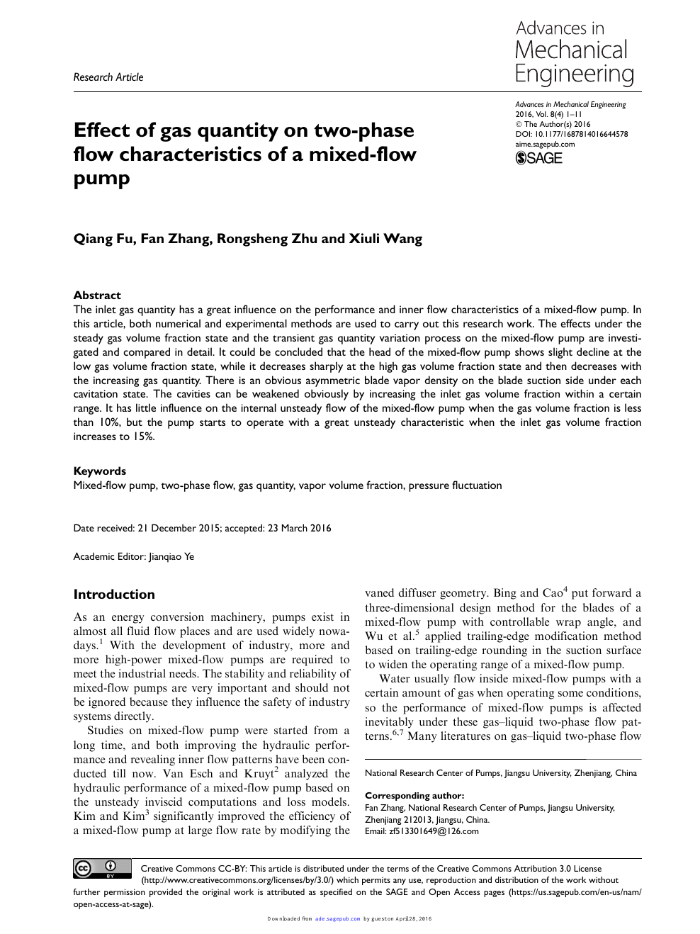 Effect of gas quantity on two-phase flow characteristics of