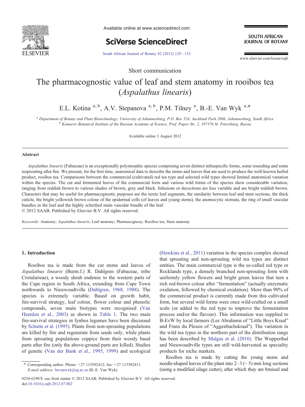 The Pharmacognostic Value Of Leaf And Stem Anatomy In Rooibos Tea