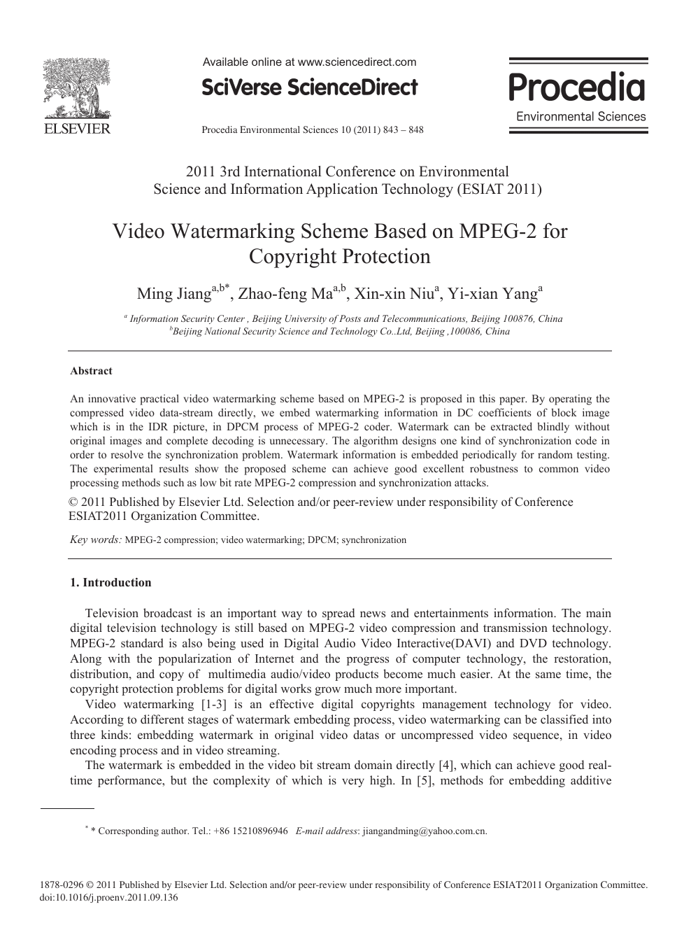 Video Watermarking Scheme Based on MPEG-2 for Copyright