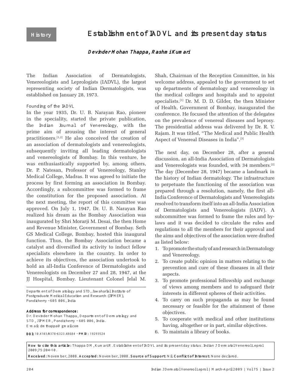 Establishment of IADVL and its present day status – topic of