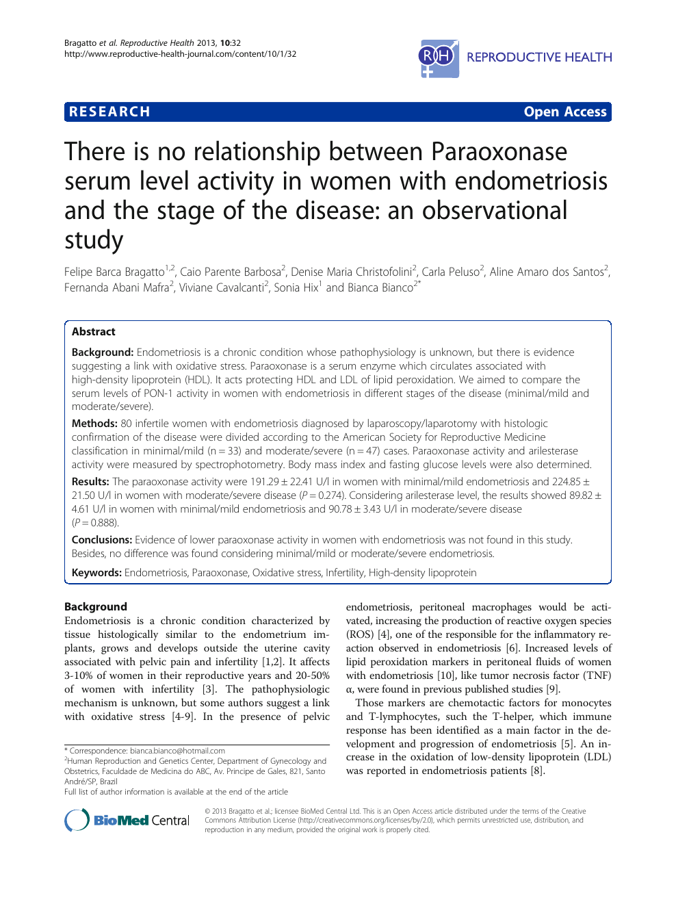 There Is No Relationship Between Paraoxonase Serum Level Activity In Women With Endometriosis And The Stage Of The Disease An Observational Study Topic Of Research Paper In Basic Medicine Download Scholarly
