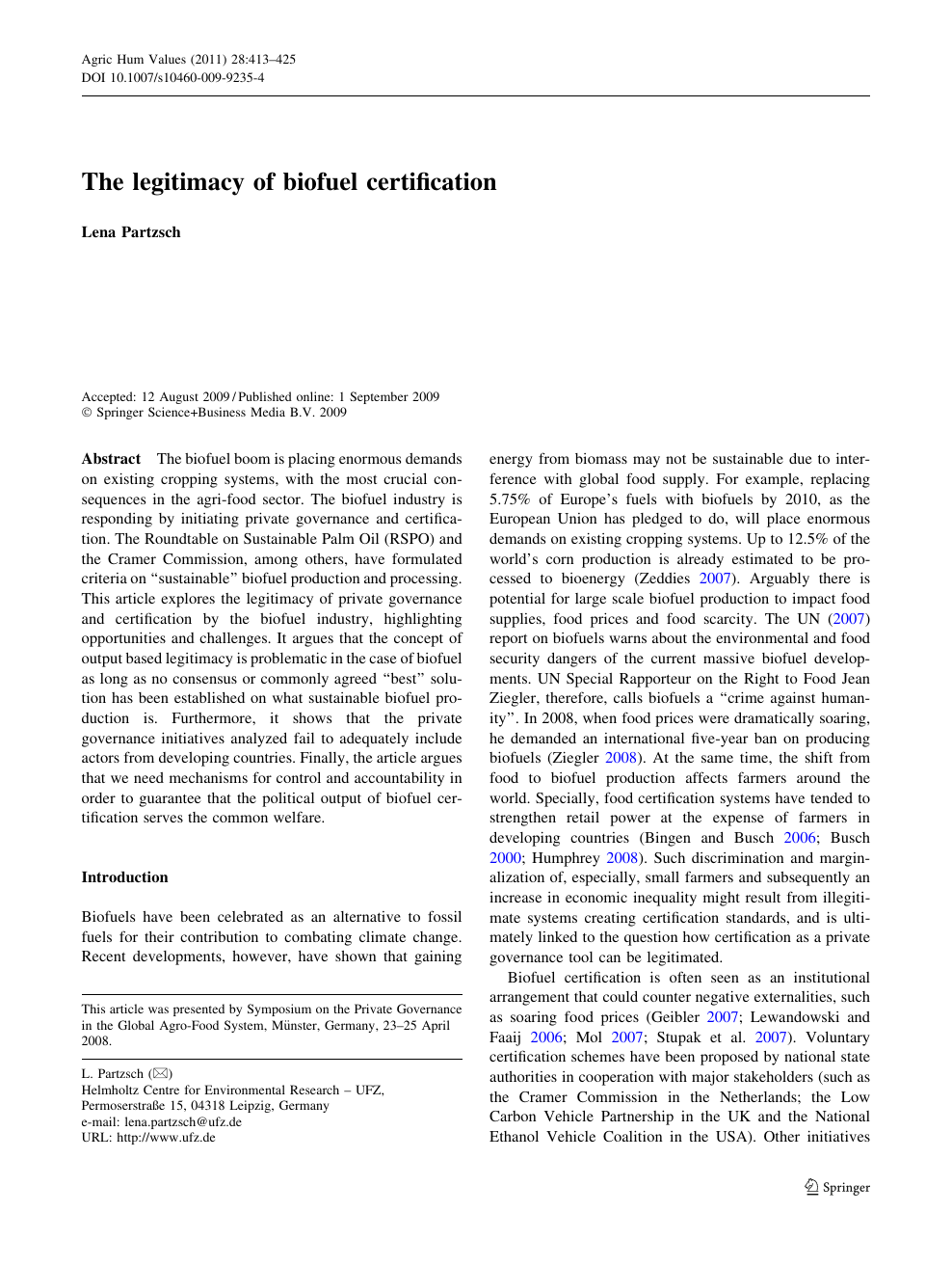The legitimacy of biofuel certification – topic of research paper in