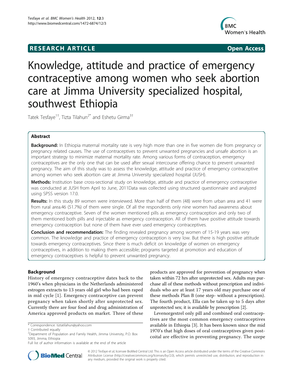 Knowledge, attitude and practice of emergency contraceptive among