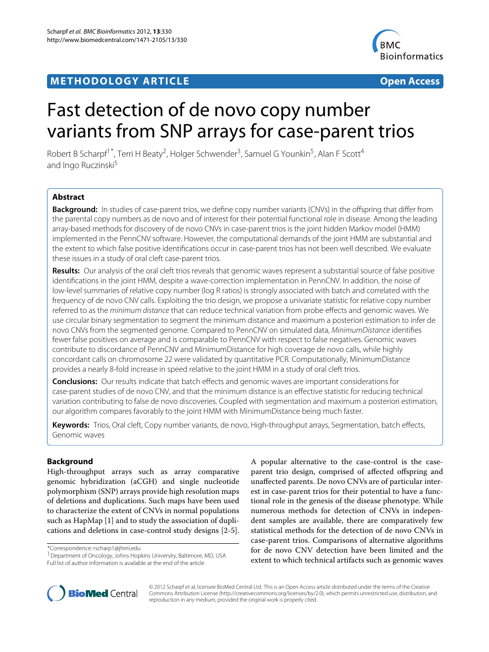 Fast detection of de novo copy number variants from SNP