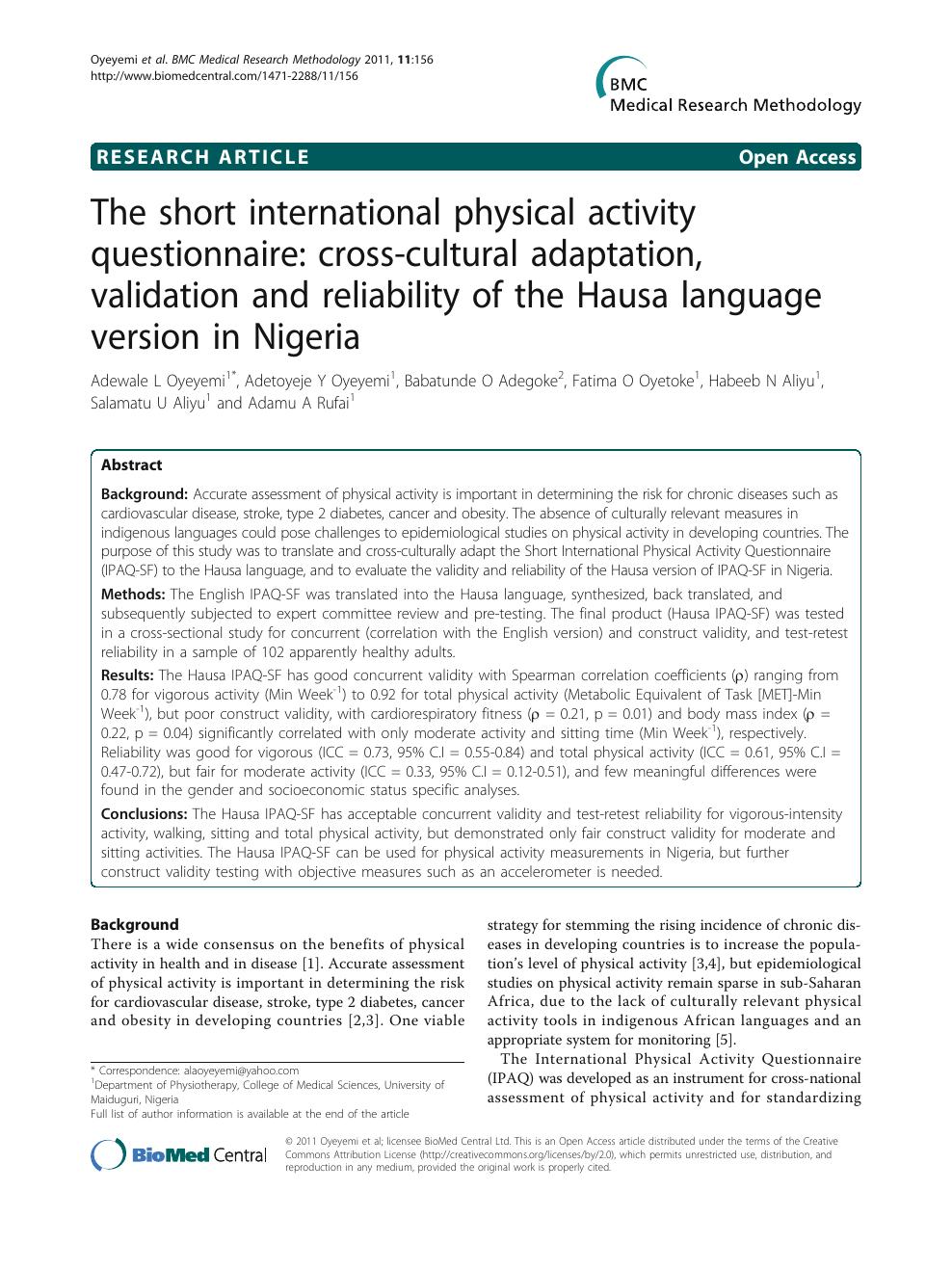 The short international physical activity questionnaire: cross