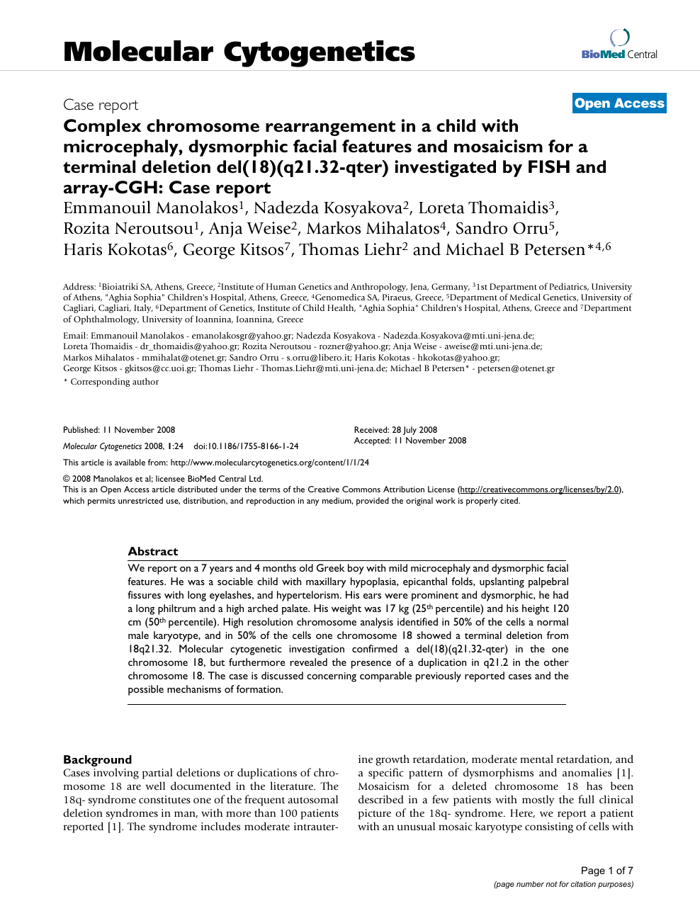 Complex chromosome rearrangement in a child with