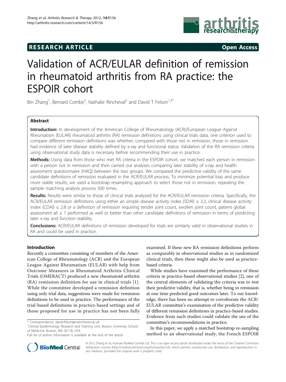 Validation Of Acr Eular Definition Of Remission In Rheumatoid Arthritis From Ra Practice The Espoir Cohort Topic Of Research Paper In Clinical Medicine Download Scholarly Article Pdf And Read For Free On