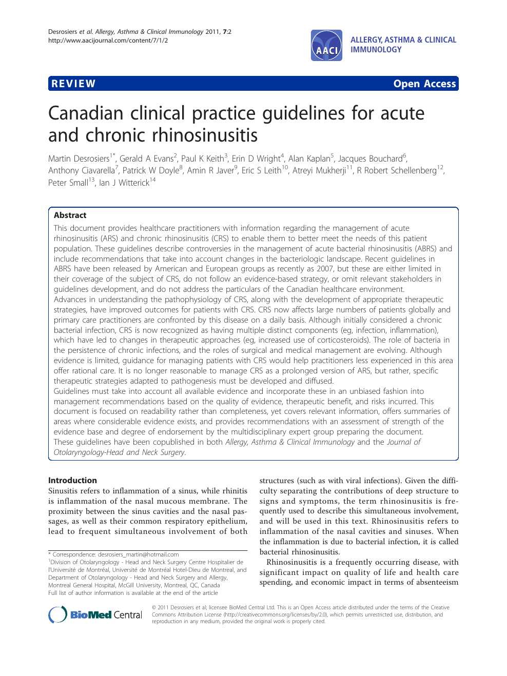 Canadian clinical practice guidelines for acute and chronic
