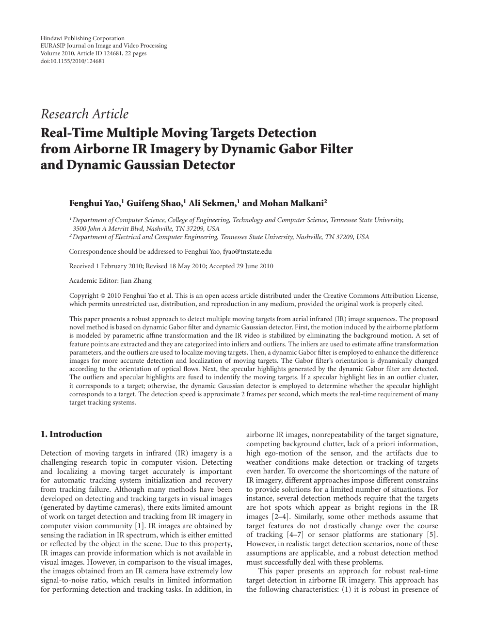Real-Time Multiple Moving Targets Detection from Airborne IR