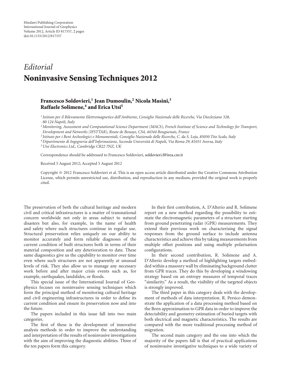 Noninvasive Sensing Techniques 2012 – topic of research