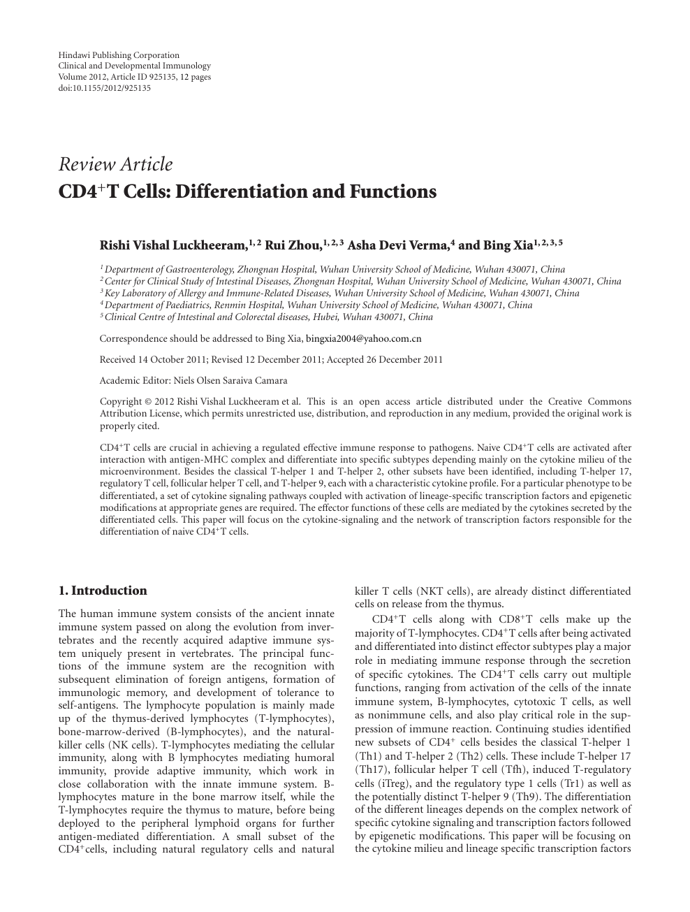CD4+T Cells: Differentiation and Functions – topic of