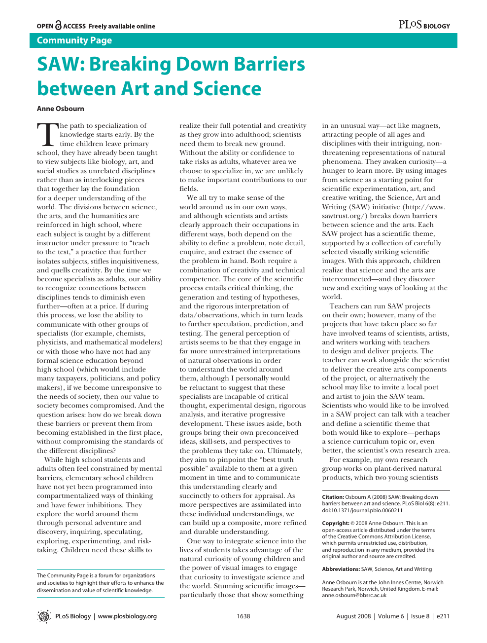SAW: Breaking Down Barriers between Art and Science – topic of ...