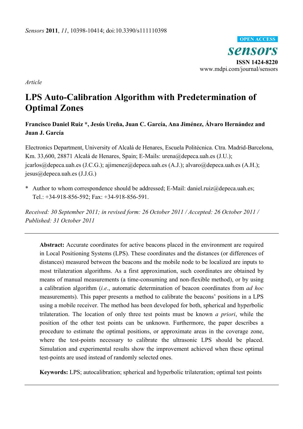 LPS Auto-Calibration Algorithm with Predetermination of