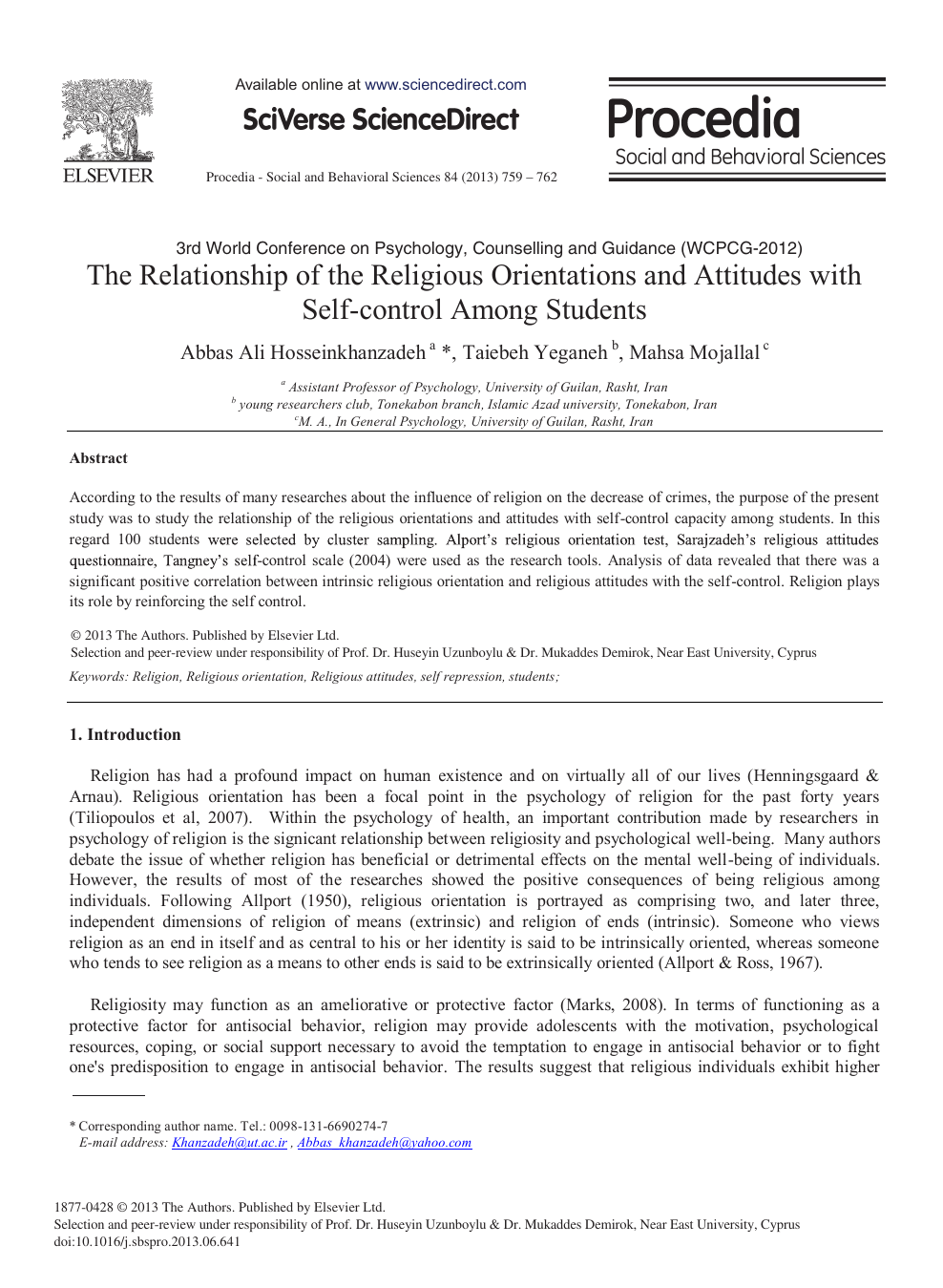 The Relationship of the Religious Orientations and Attitudes with