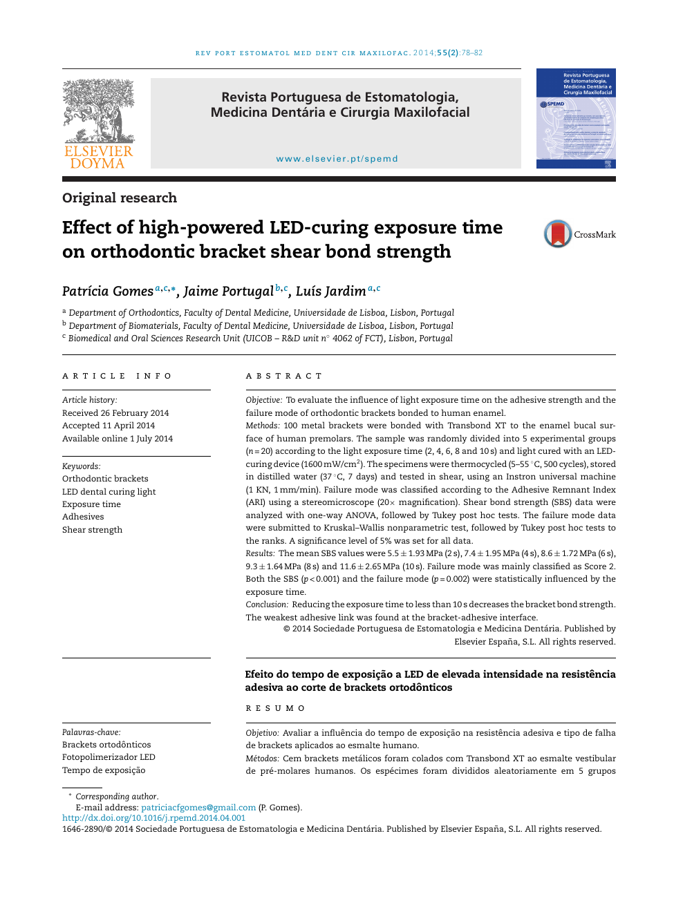 Effect of high-powered LED-curing exposure time on orthodontic