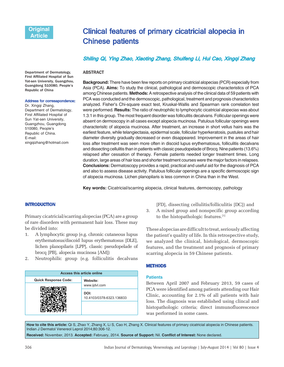 Clinical features of primary cicatricial alopecia in Chinese