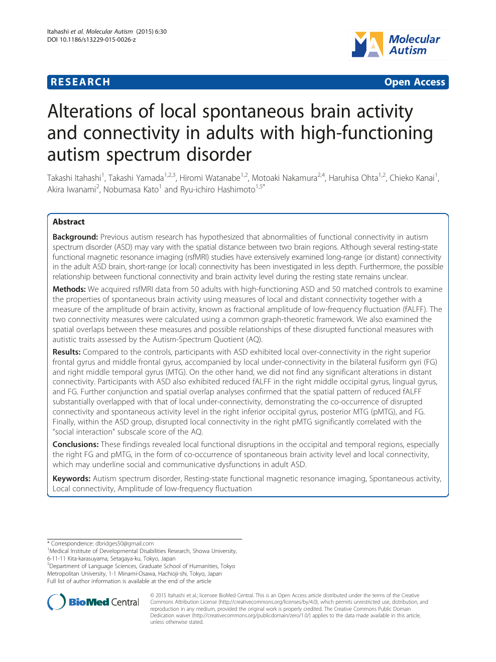 Alterations of local spontaneous brain activity and