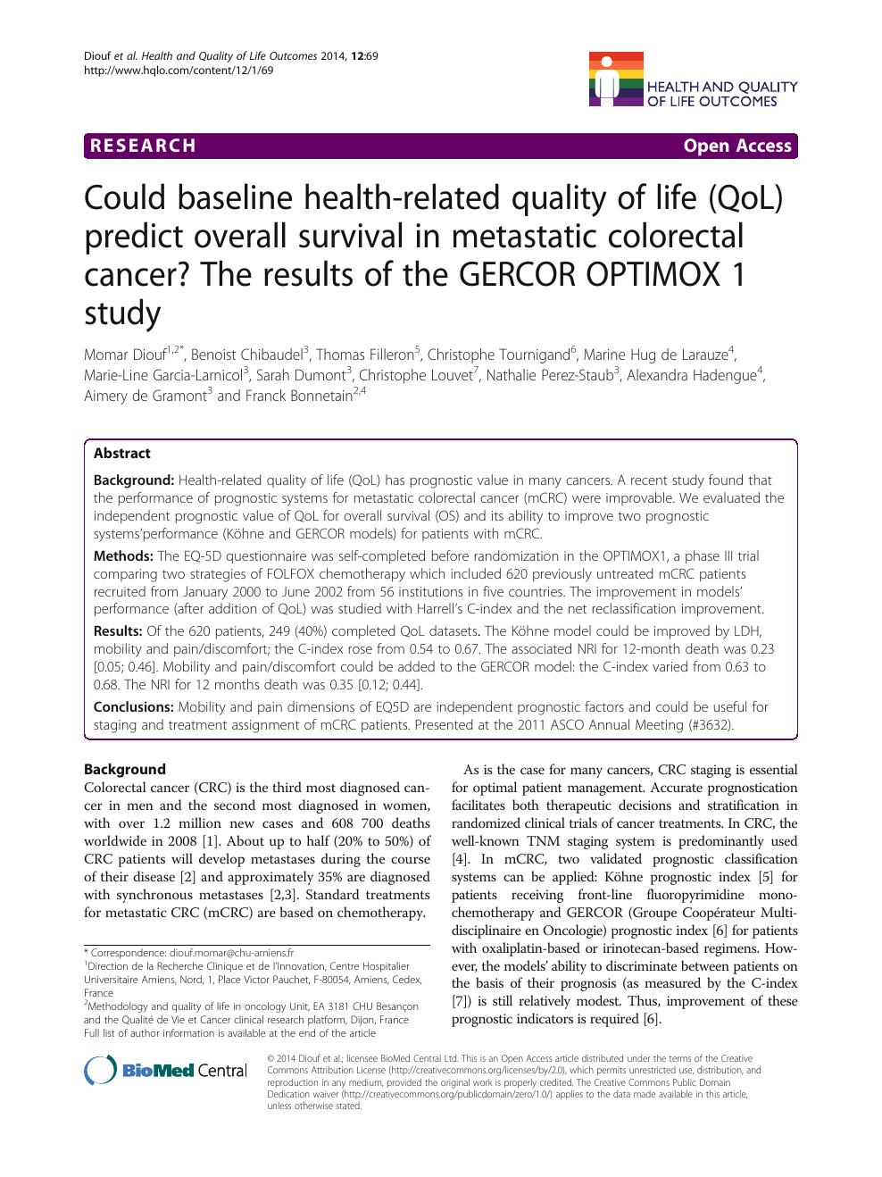 Could baseline health-related quality of life (QoL) predict