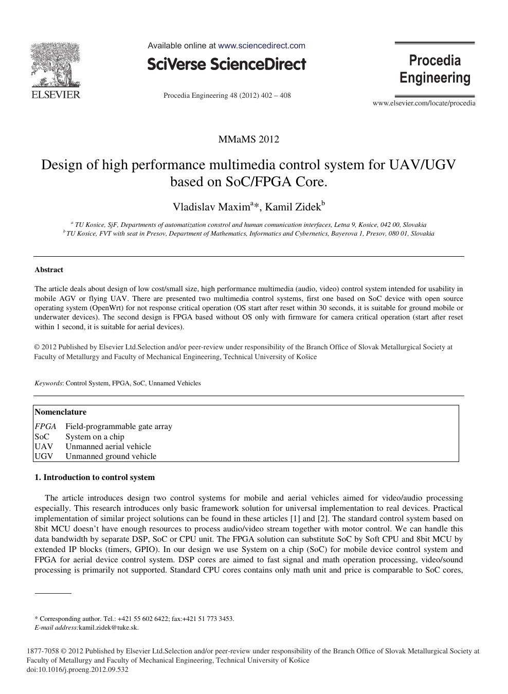 Design of High Performance Multimedia Control System for UAV