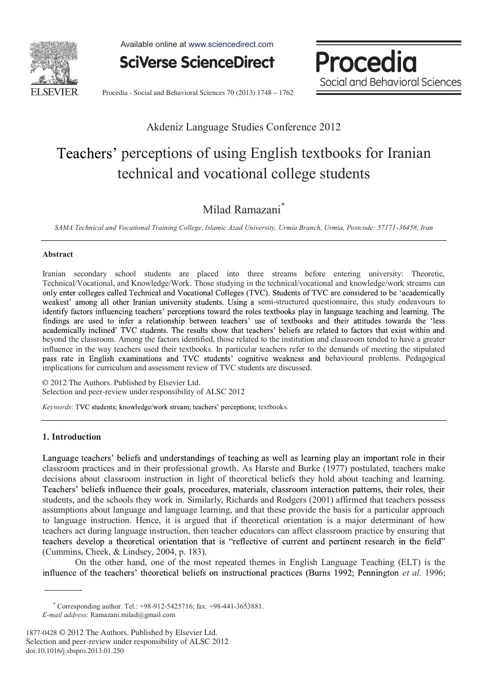 Teachers' Perceptions of Using English Textbooks for Iranian