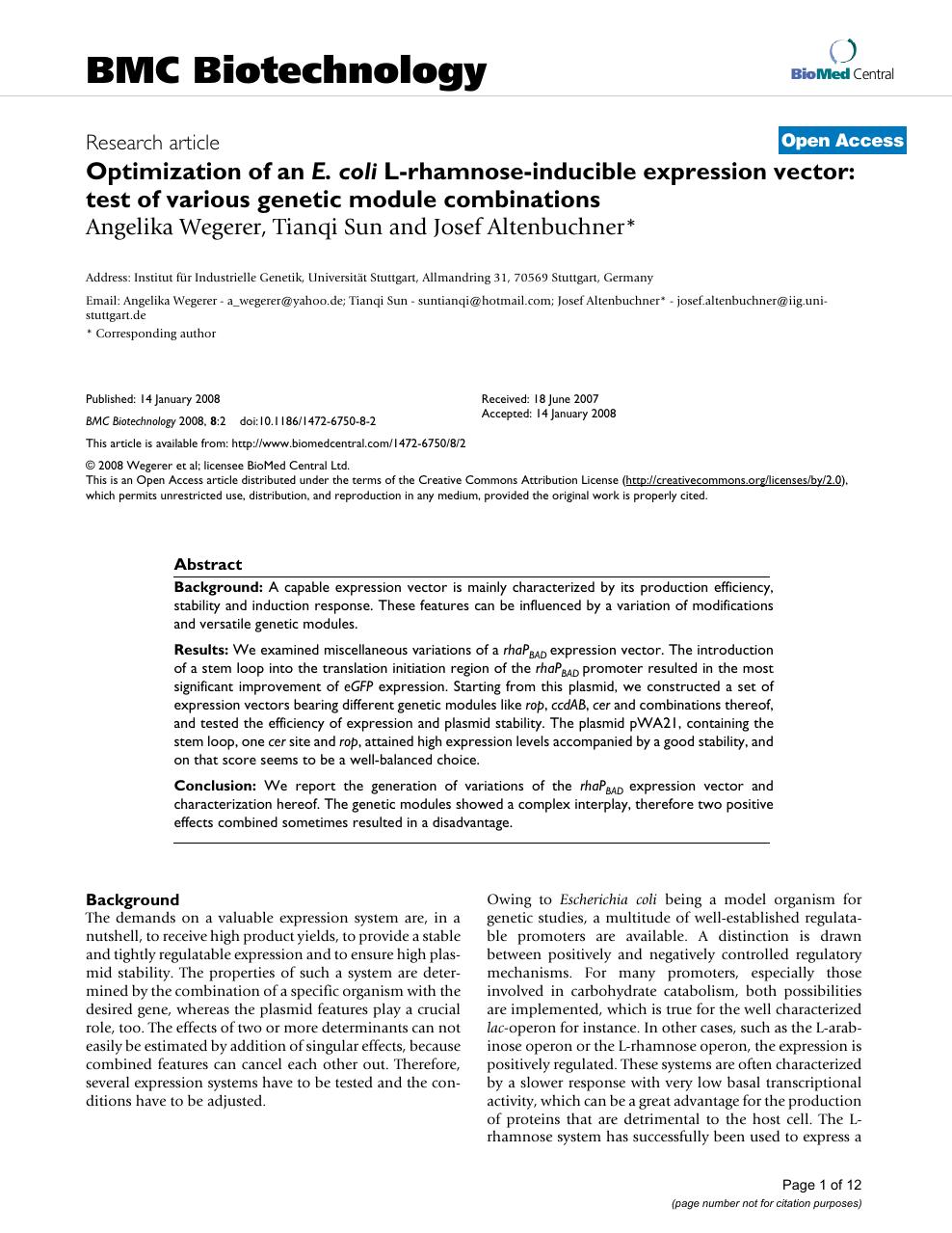 Optimization Of An E Coli L Rhamnose Inducible Expression