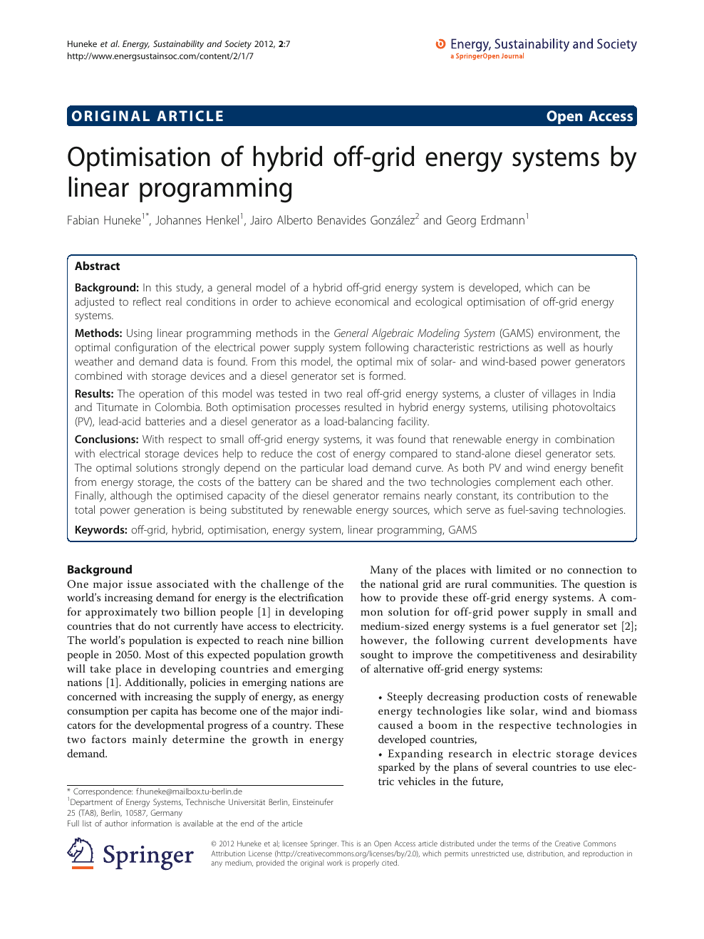 Optimisation of hybrid off-grid energy systems by linear