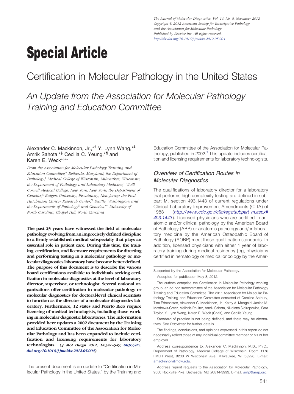 Certification in Molecular Pathology in the United States