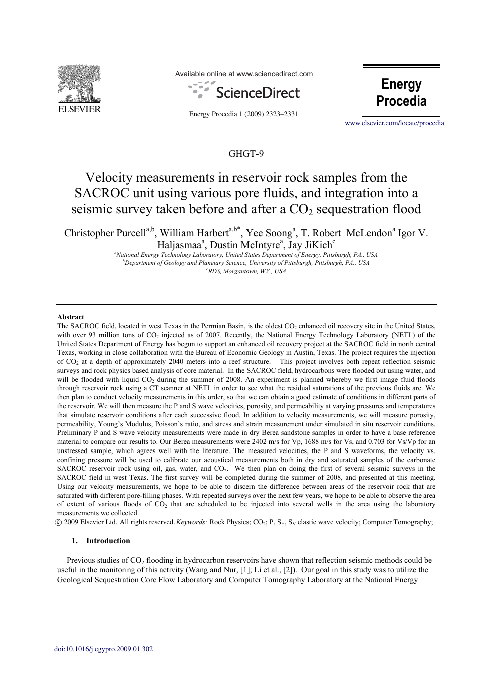 Velocity measurements in reservoir rock samples from the SACROC unit