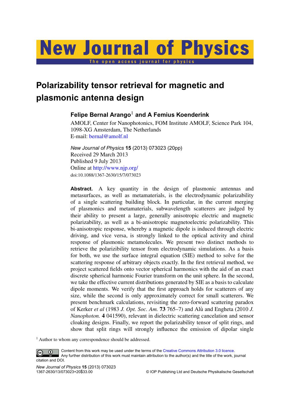 Polarizability tensor retrieval for magnetic and plasmonic