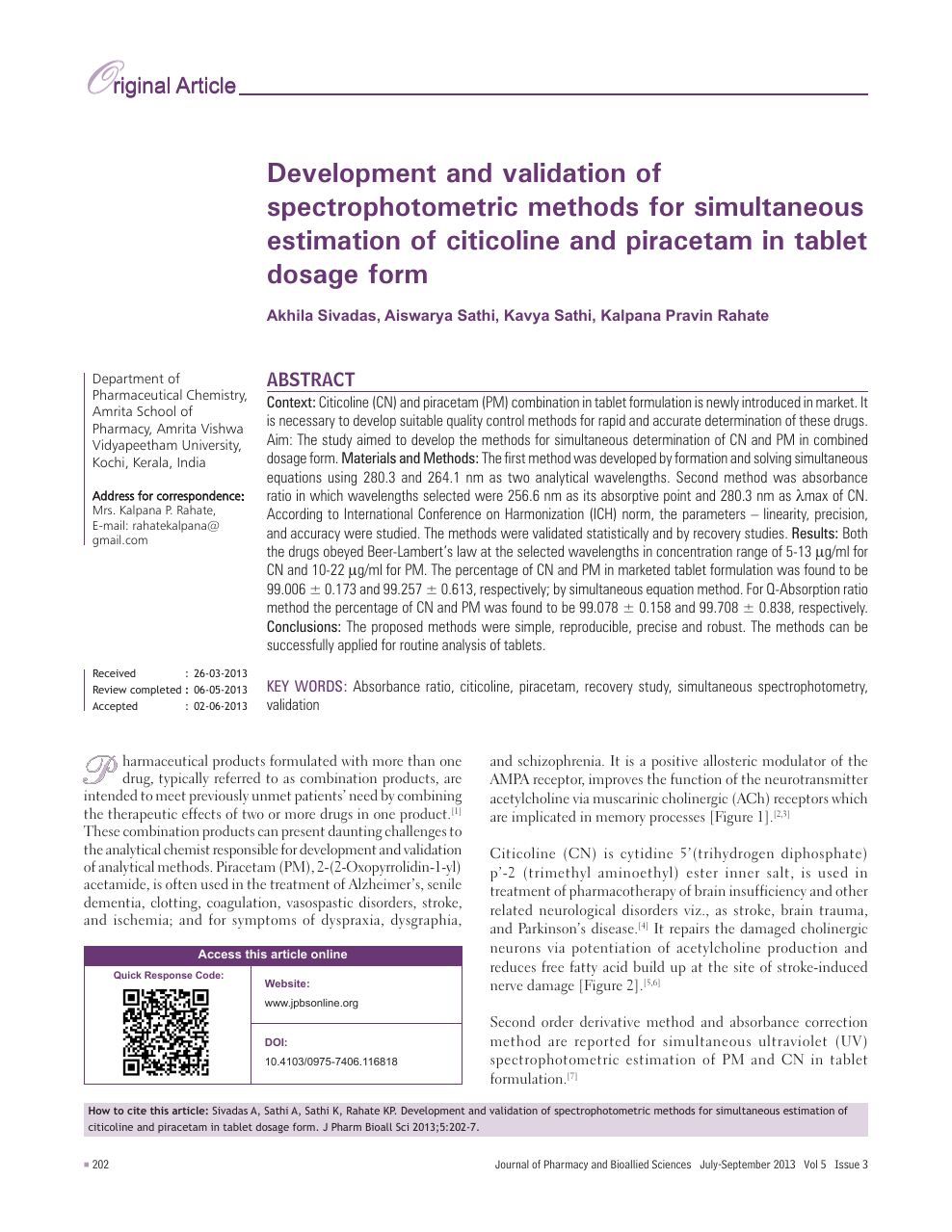 Development and validation of spectrophotometric methods for