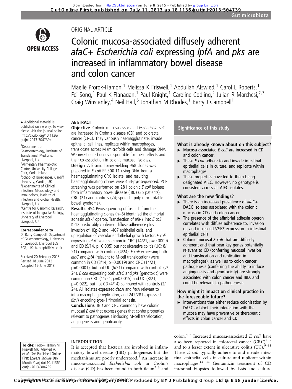 Colonic Mucosa Associated Diffusely Adherent Afac Escherichia Coli Expressing Lpfa And Pks Are Increased In Inflammatory Bowel Disease And Colon Cancer Topic Of Research Paper In Biological Sciences Download Scholarly Article Pdf